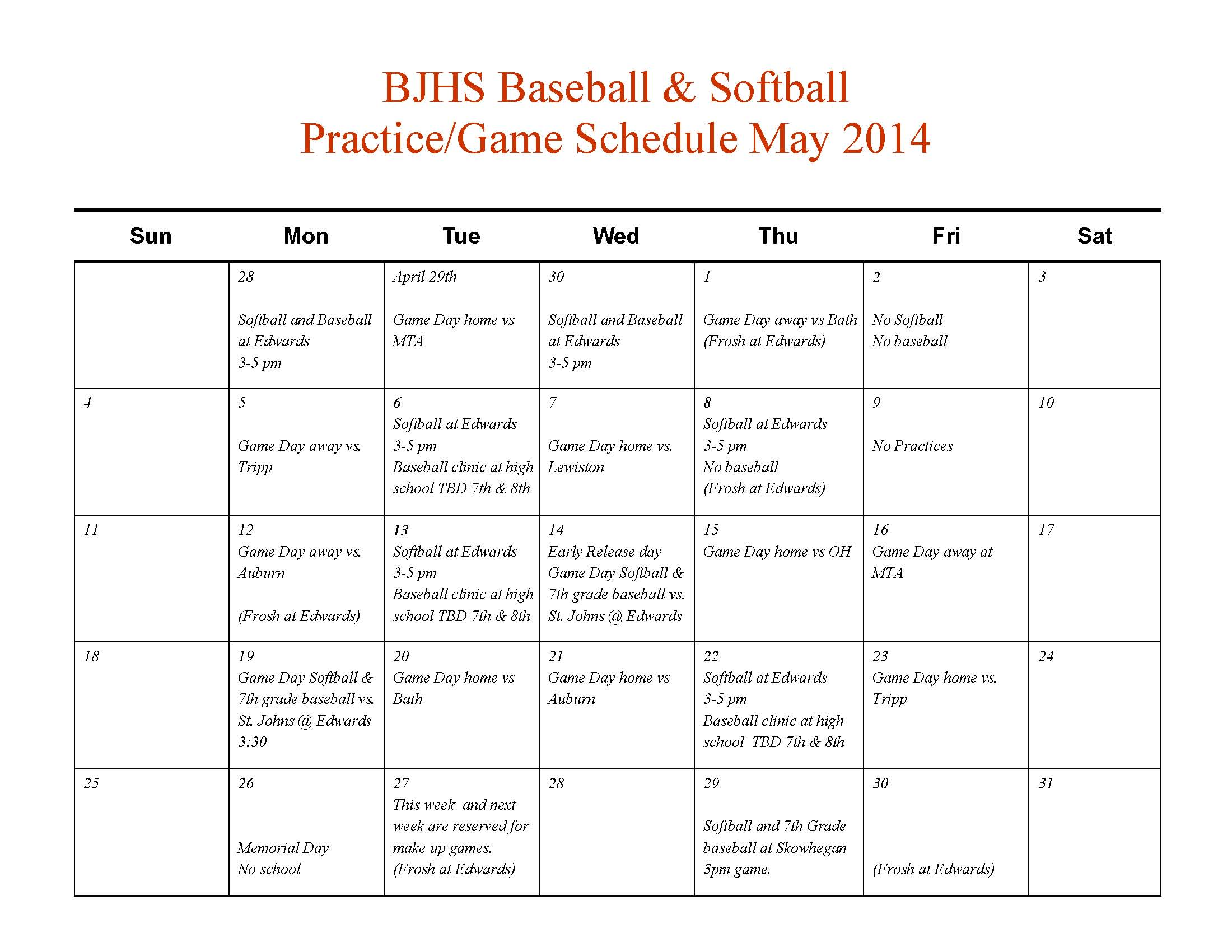 Softball schedule template 28 images softball workout for Baseball schedule template free