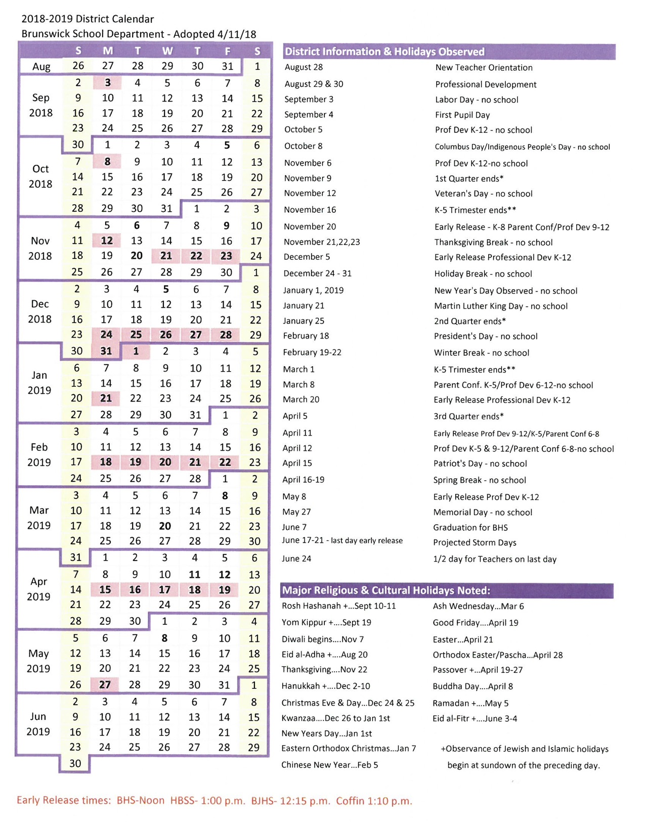 Brunswick School Department Adopted Calendar 2018-2019