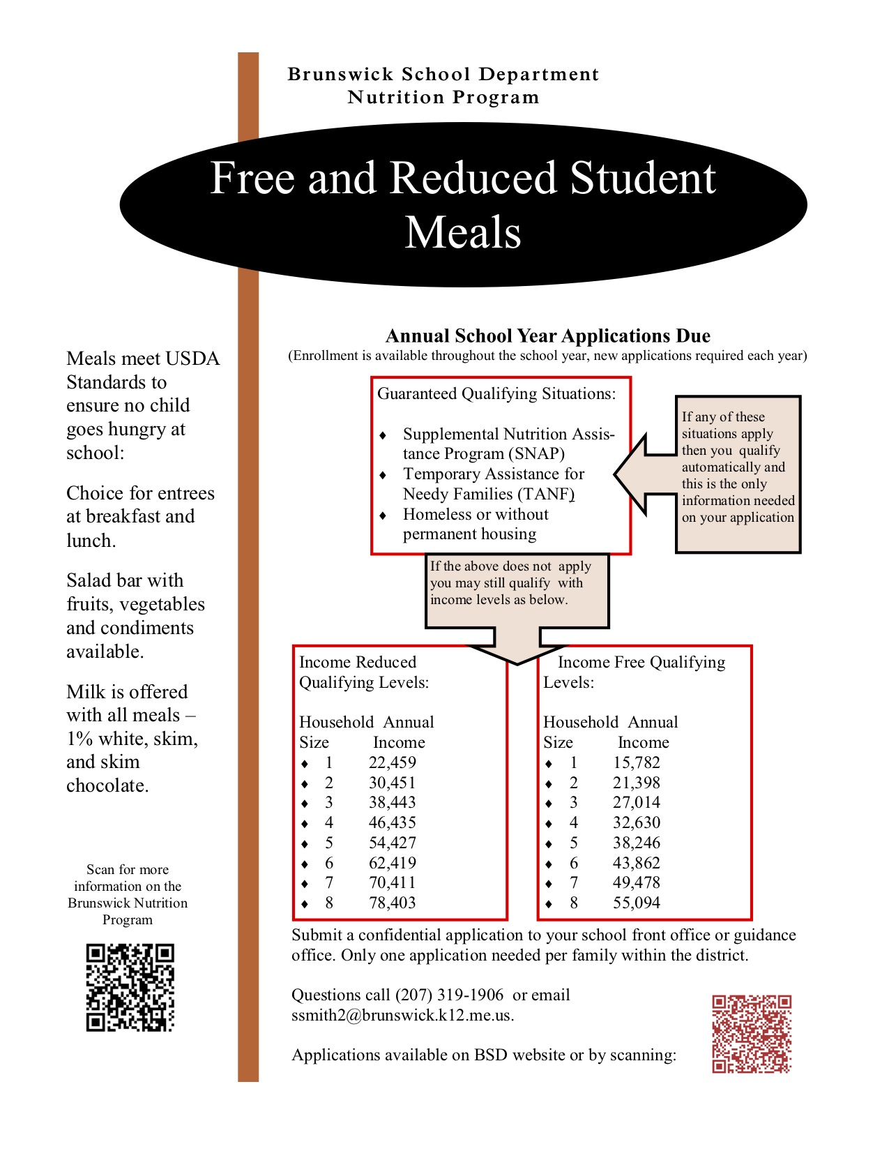 free and reduced meal information brunswick high school