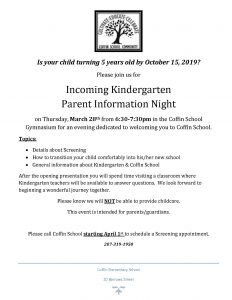 Kindergarten Parent Night 2019